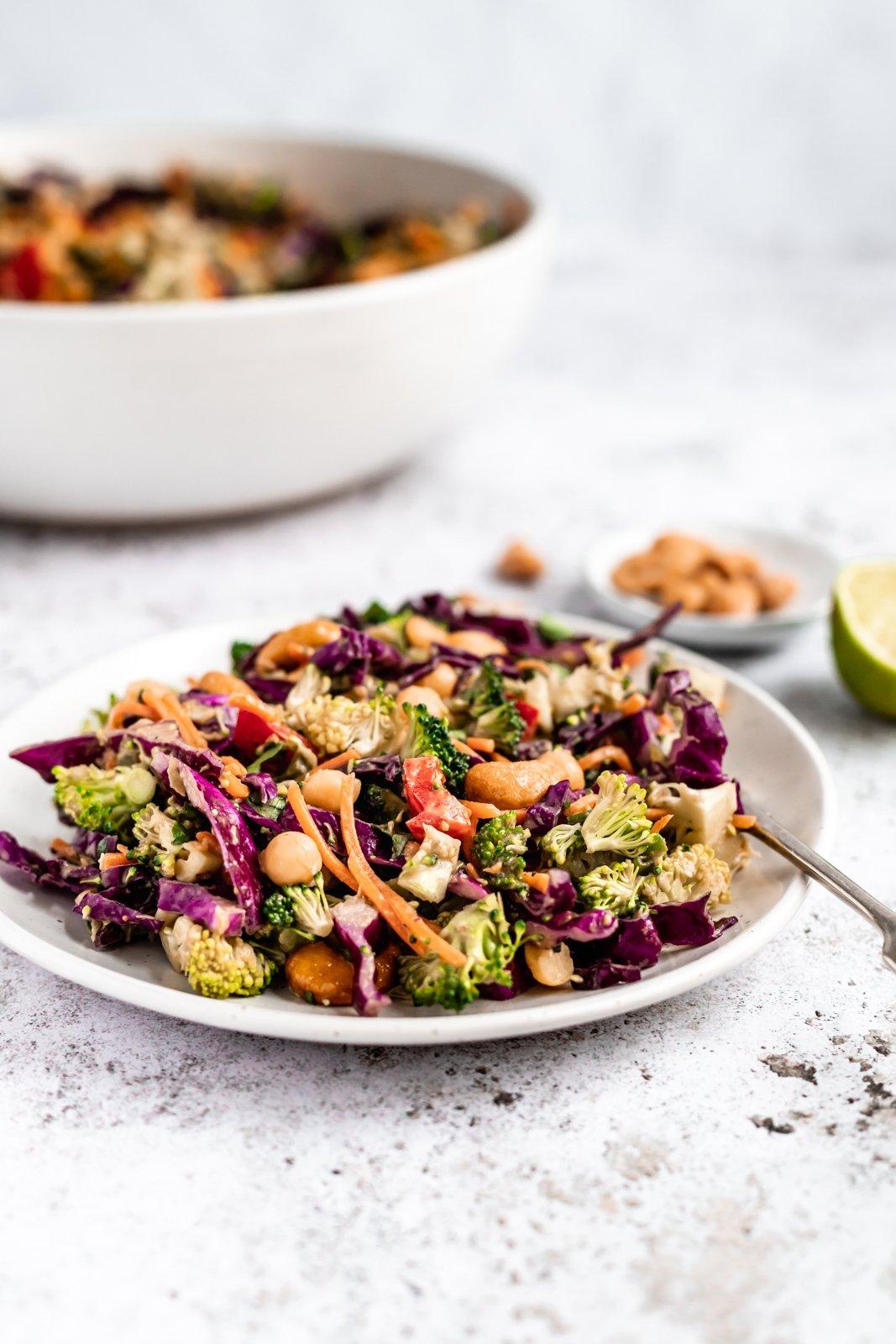 chopped thai broccoli salad on a plate