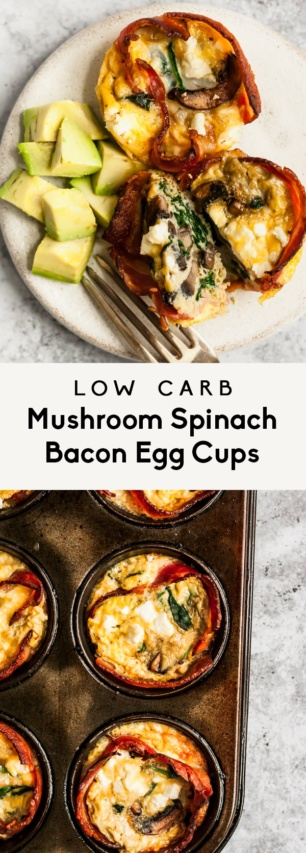 collage of low carb bacon egg cups