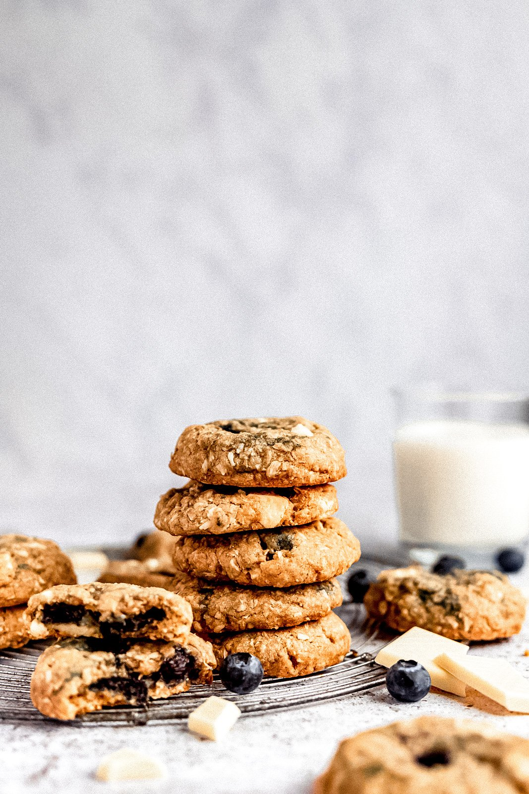 white chocolate blueberry coconut oatmeal cookies in a stack