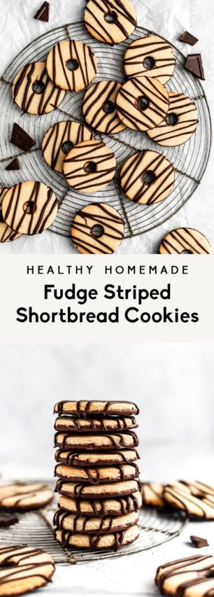 collage of healthy homemade fudge stripes cookies