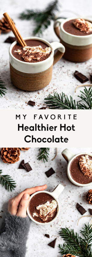 collage of healthy vegan hot chocolate