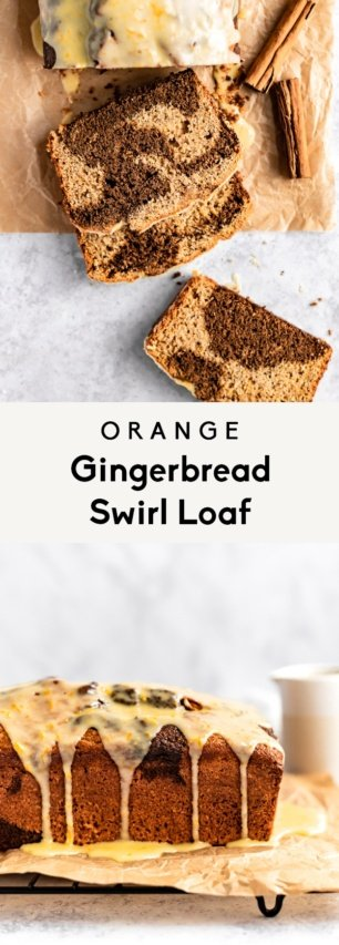 collage of an orange gingerbread loaf