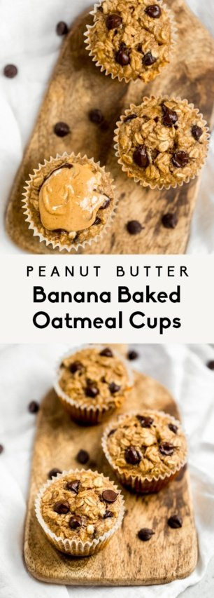 collage of peanut butter banana baked oatmeal cups