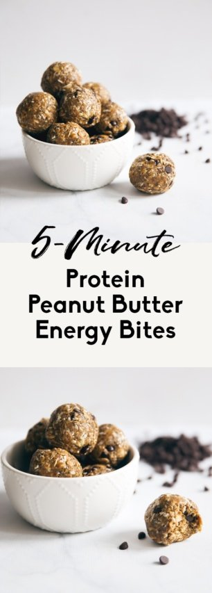 collage of no bake peanut butter energy bites