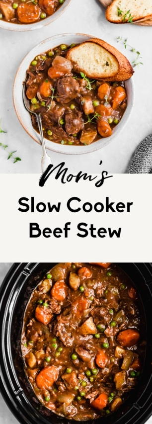 collage of easy slow cooker beef stew