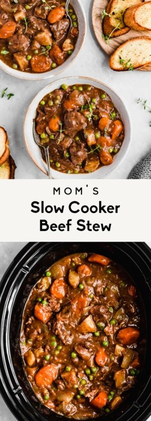 collage of slow cooker beef stew recipe