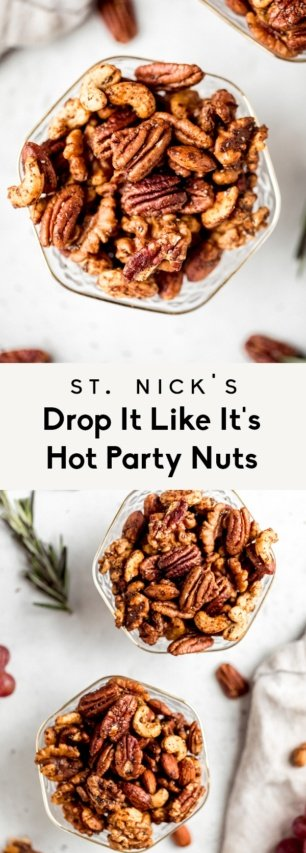 collage of sweet and spicy nut mix recipe