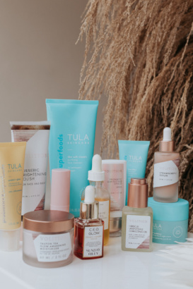 pregnancy safe skincare products on a white table