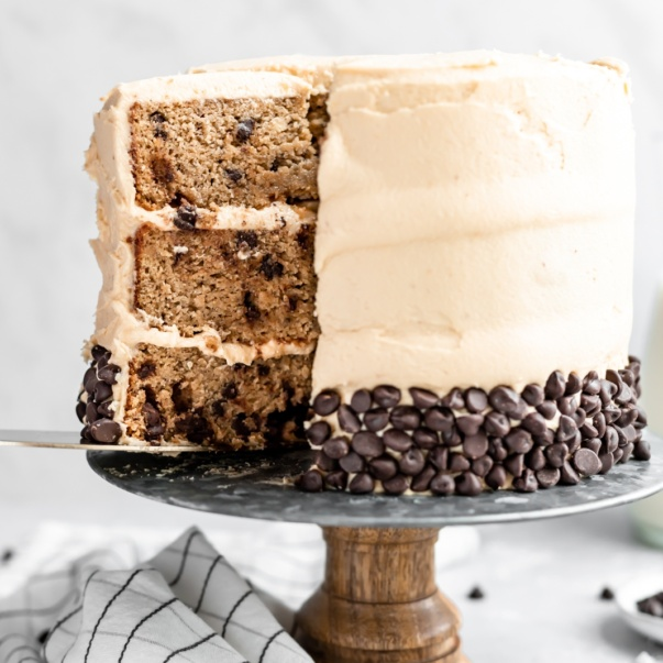 grain free peanut butter banana cake on a cake stand