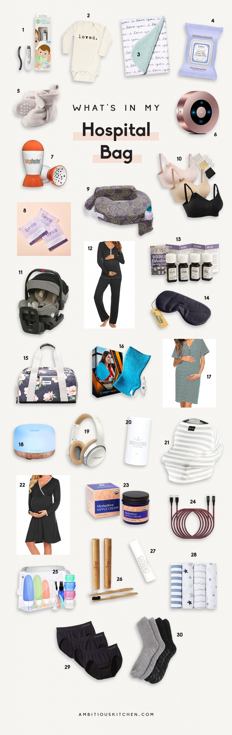 collage of items to put in a hospital bag