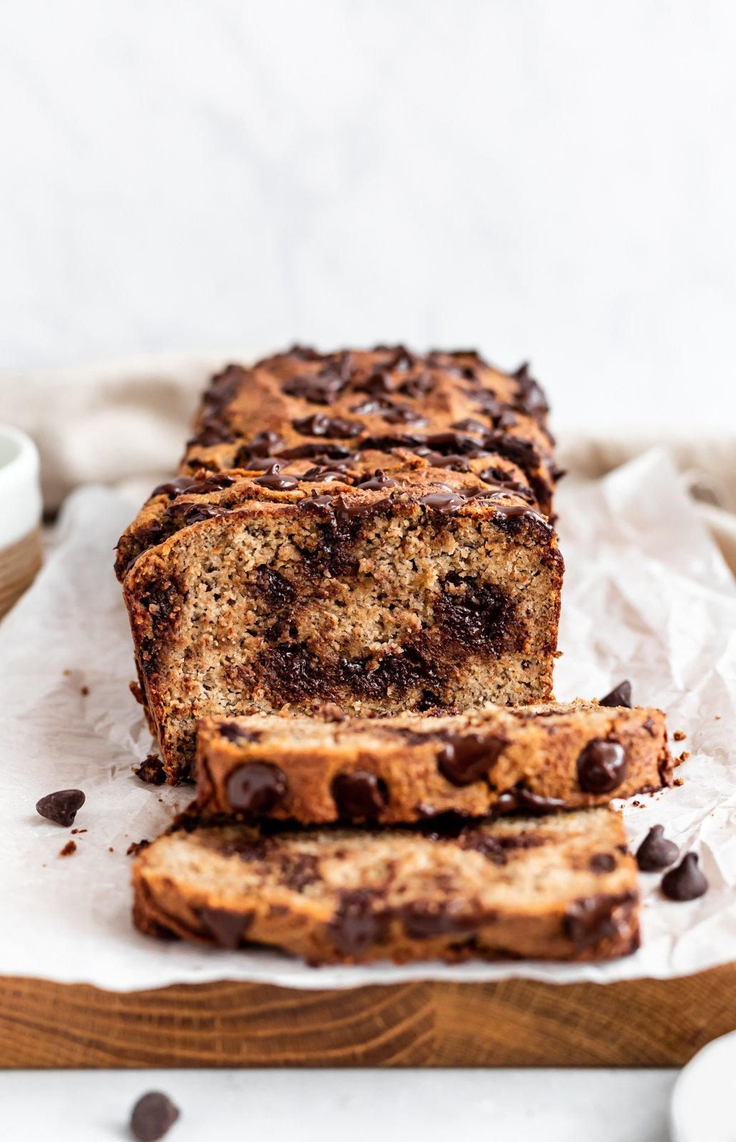 almond flour banana bread with slices cut out