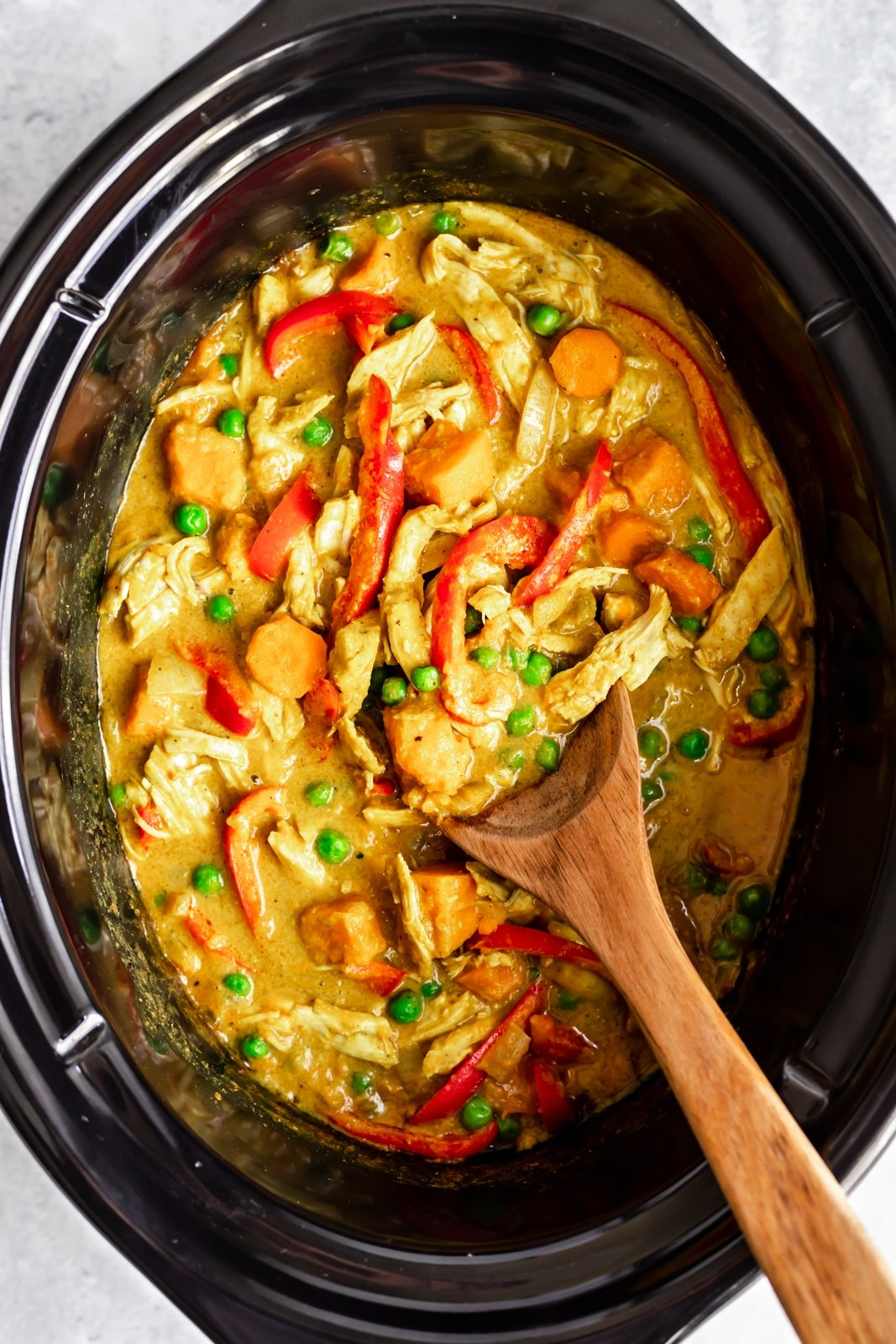 yellow chicken curry in the slow cooker