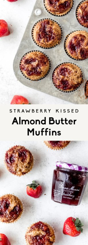 collage of gluten free almond butter muffins