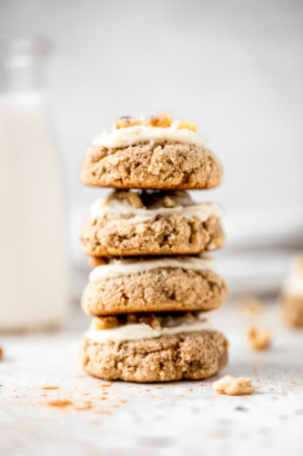 photo of banana bread cookies stacked on top of eachother