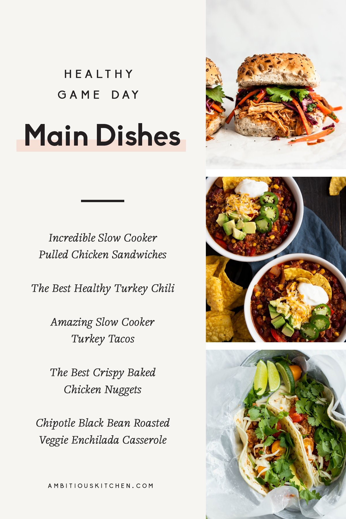 collage of game day main dishes