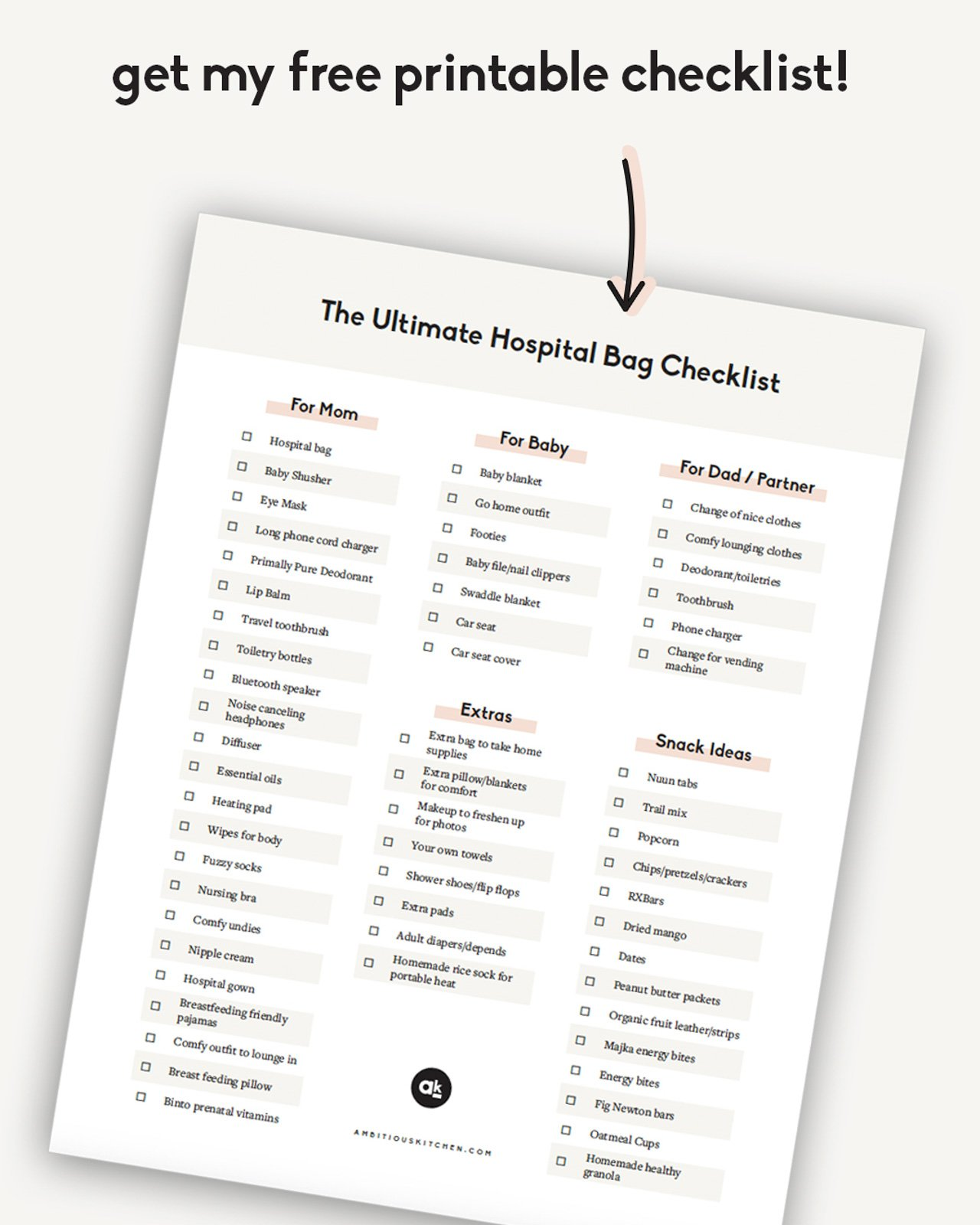 printable checklist of what to bring to the hospital
