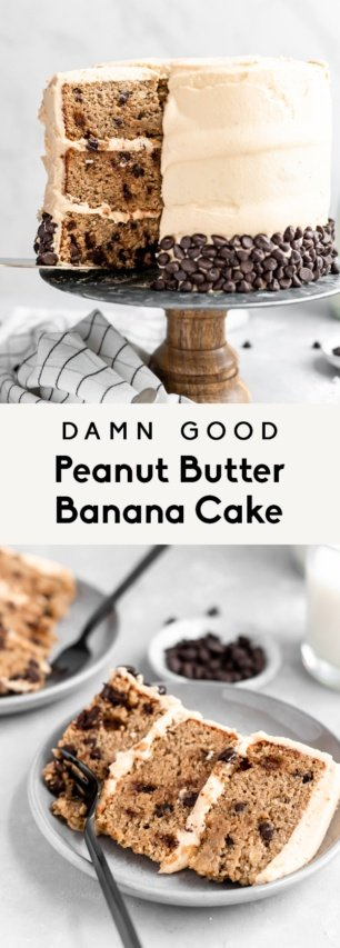 collage of grain free peanut butter banana cake