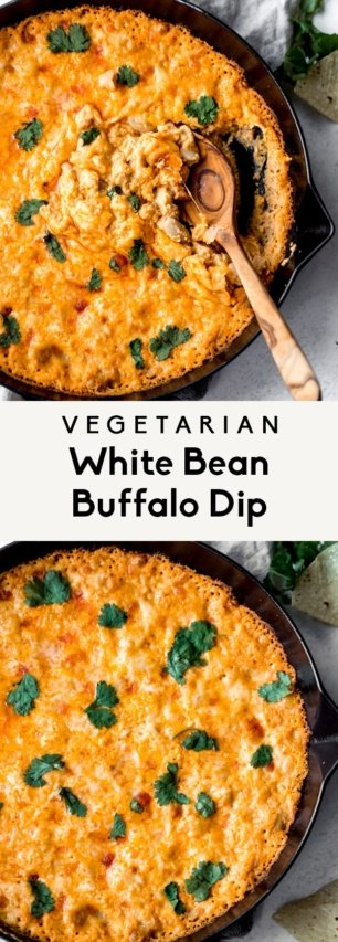 collage of vegetarian buffalo dip