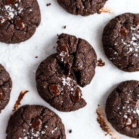 chocolate almond butter cookies on a surface