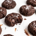 chocolate almond butter cookies with a bite taken out