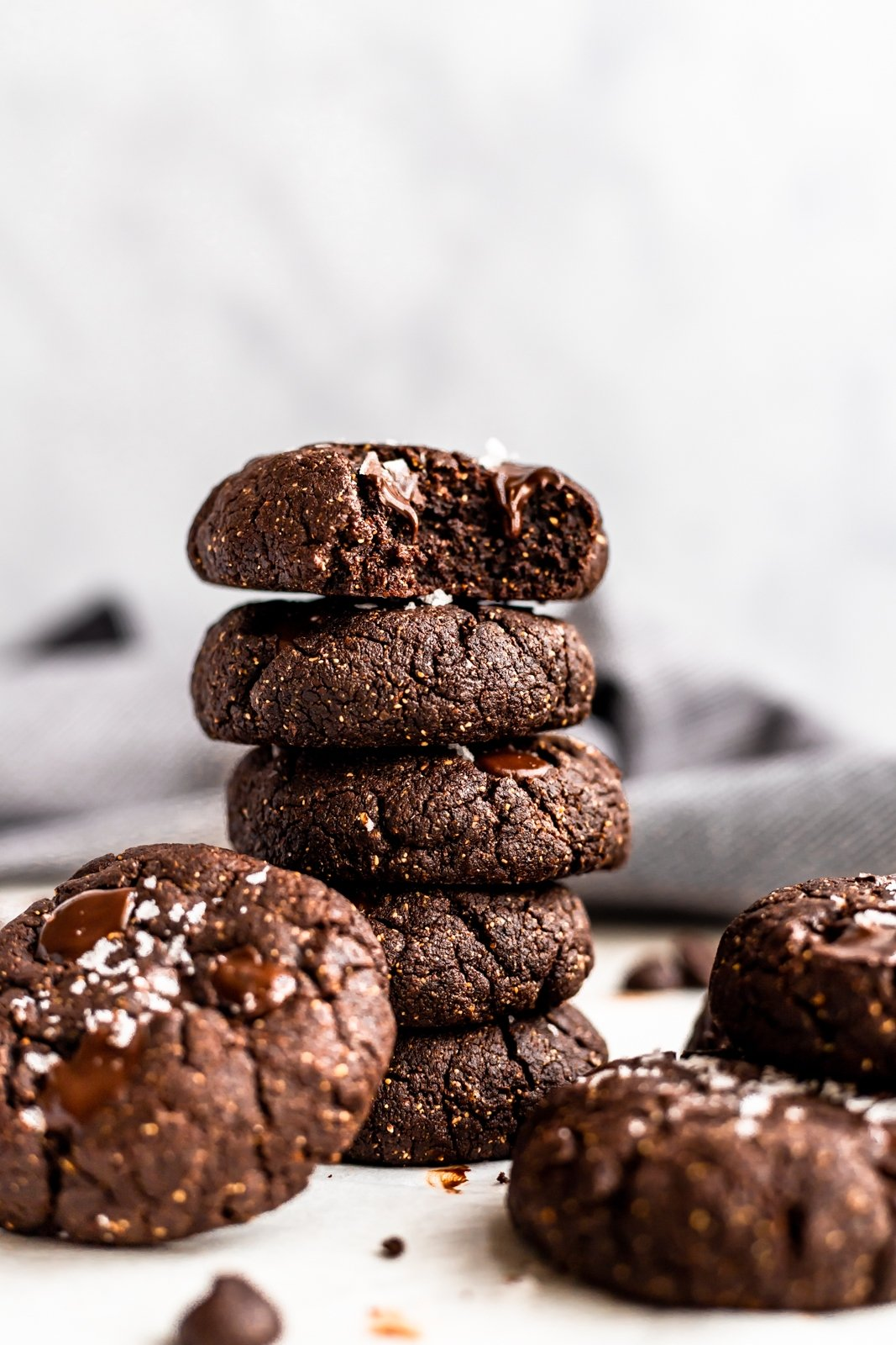 gluten free chocolate almond butter cookies in a stack