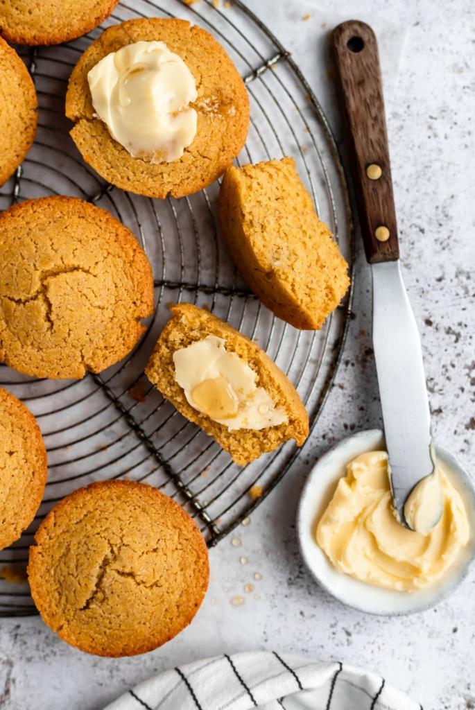 gluten free cornbread muffins on a wire rack