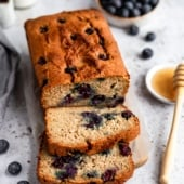 almond flour blueberry bread sliced
