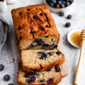 almond flour blueberry bread sliced