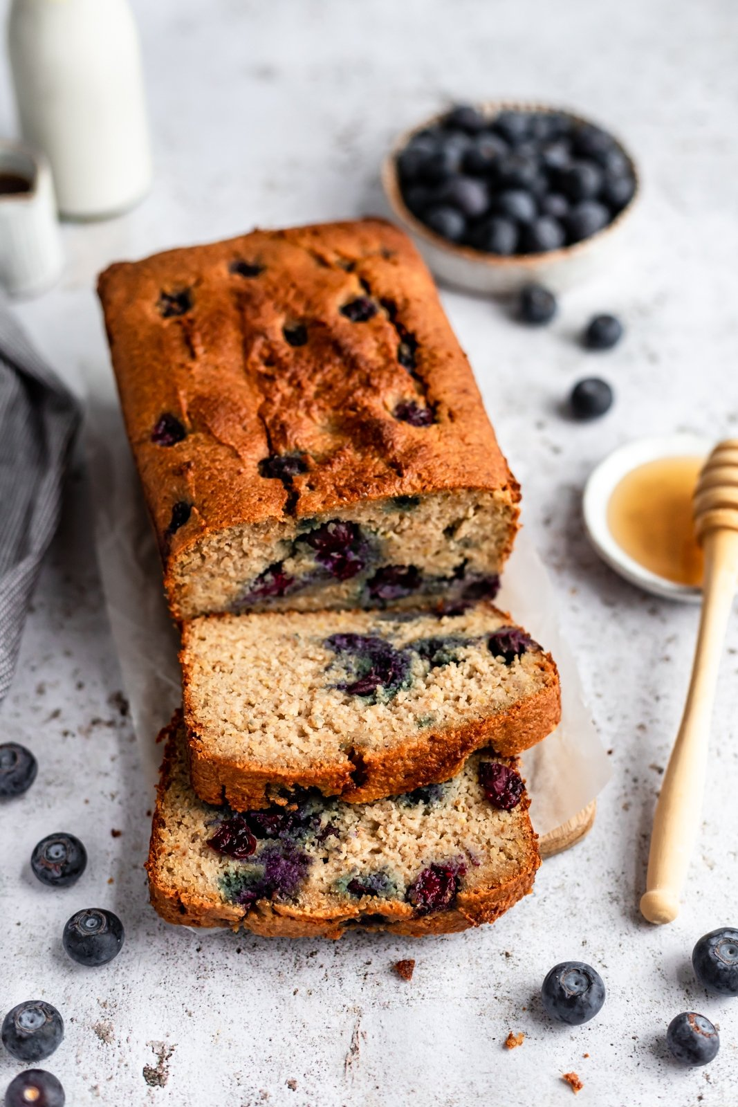 gluten free blueberry bread sliced