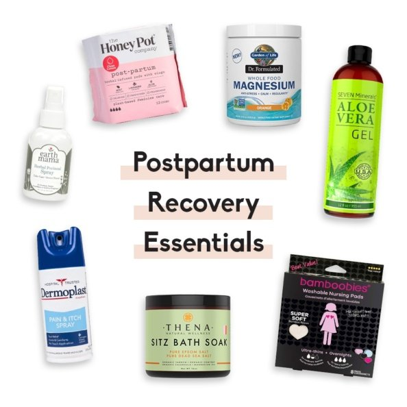 postpartum recovery essentials with text overlay