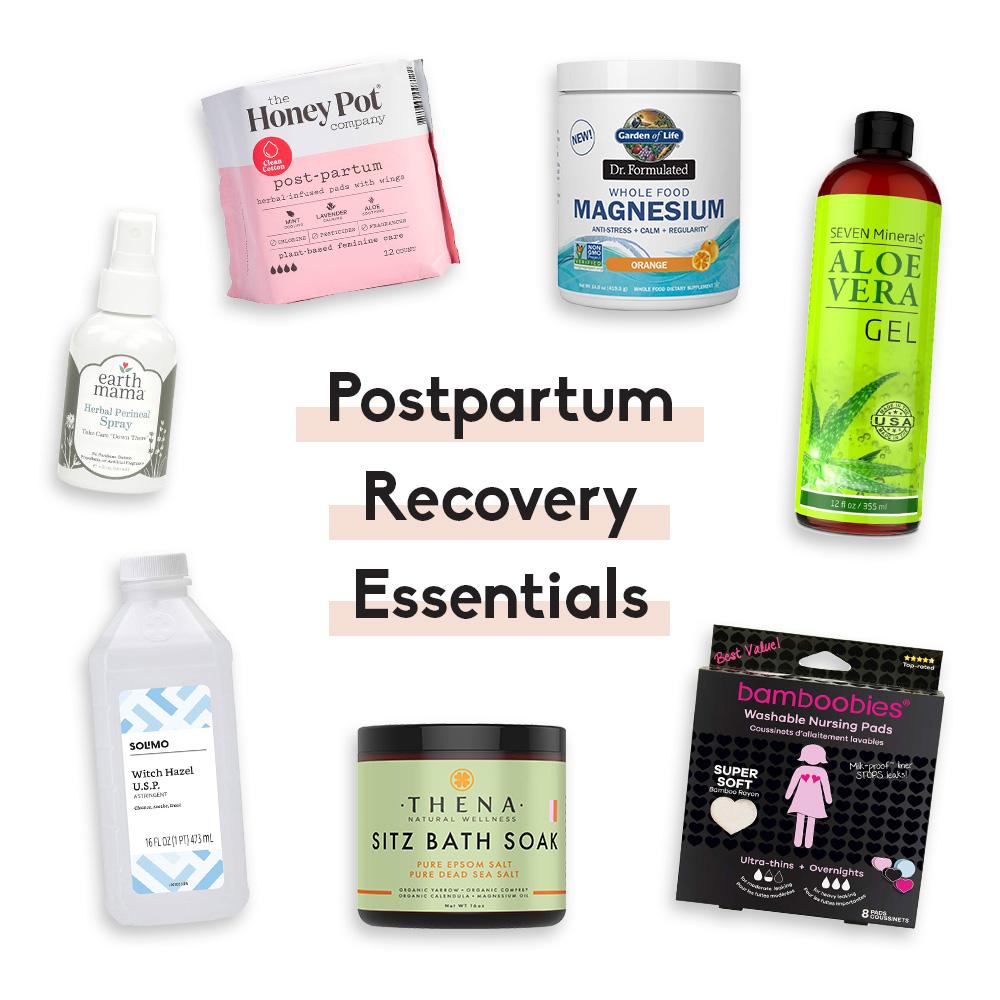 collage of postpartum recovery essentials