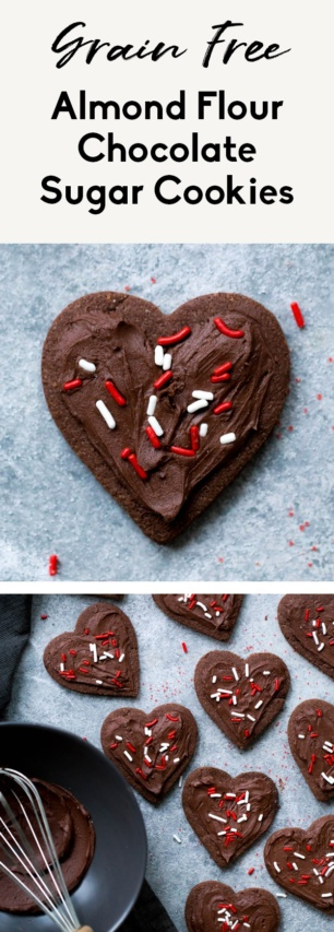 collage of gluten free chocolate sugar cookies