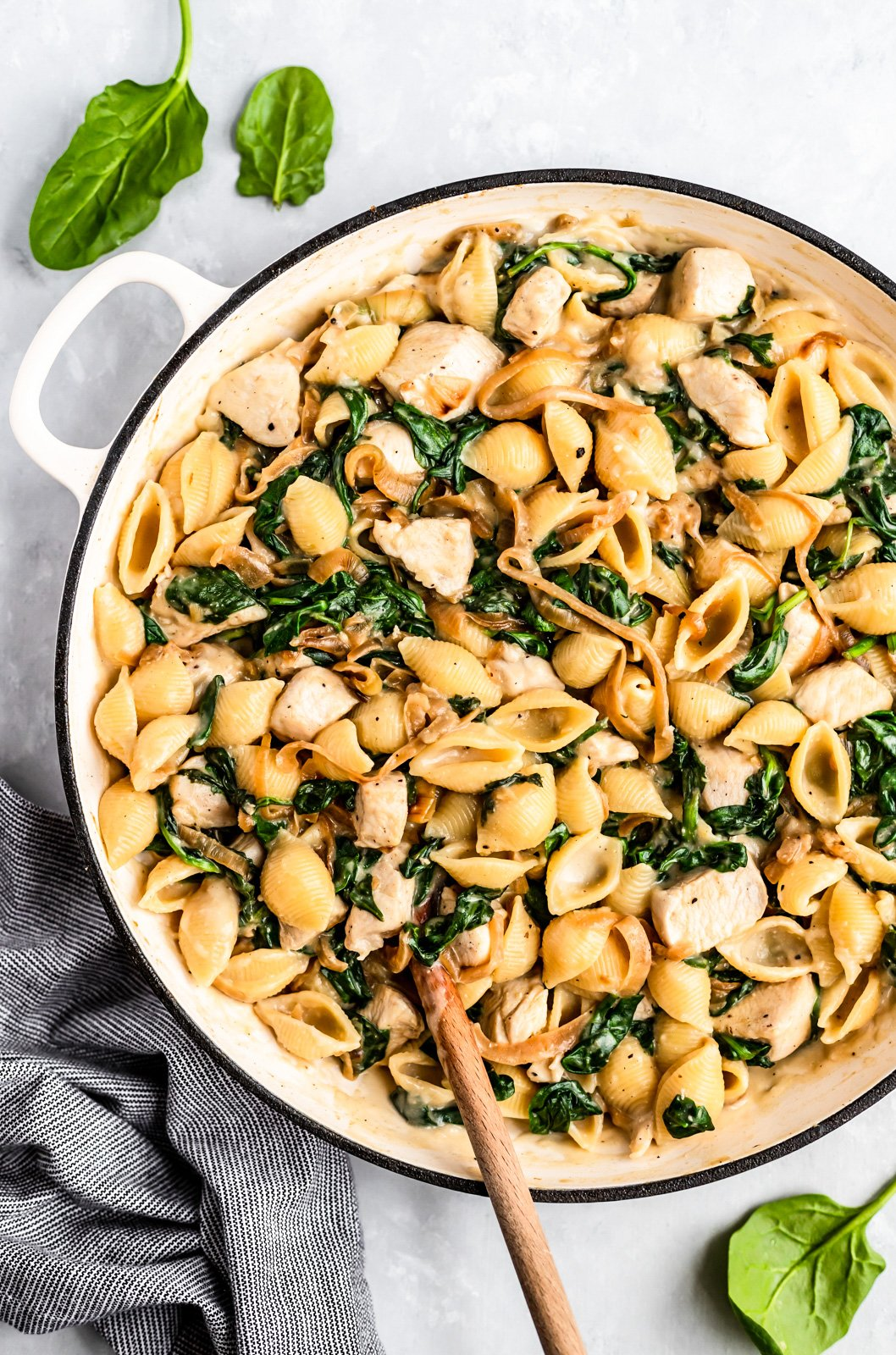 creamy spinach chicken pasta bake in a pot