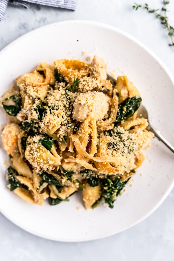 Incredible Caramelized Onion Spinach Chicken Pasta Bake