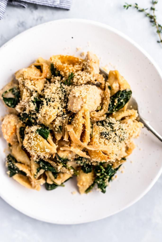 spinach chicken pasta bake on a plate