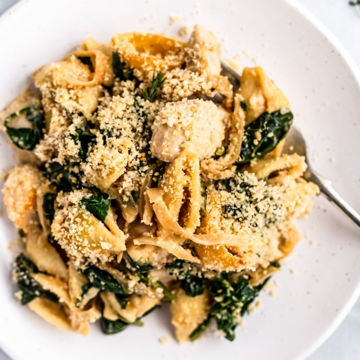 spinach chicken pasta bake on a plate