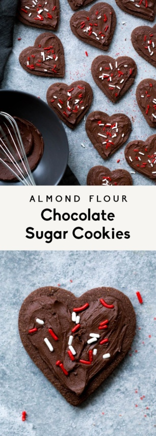collage of almond flour chocolate sugar cookies