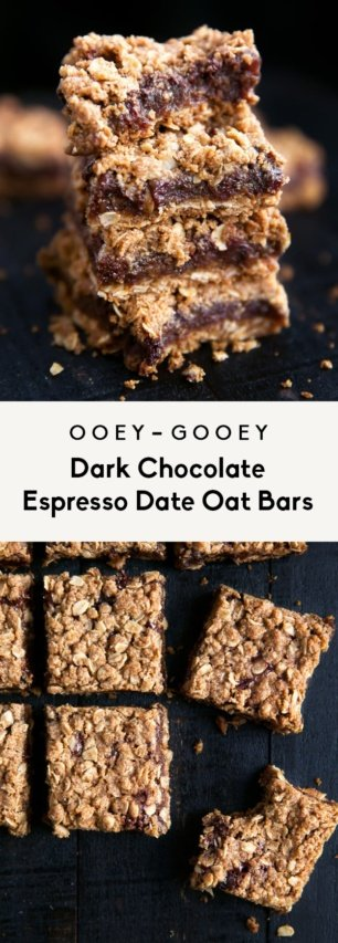 collage of dark chocolate date bars