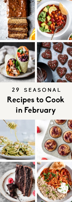 collage of healthy recipes to cook in february