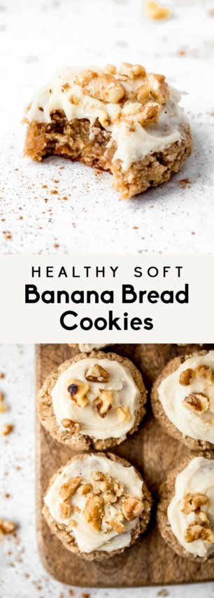 collage of healthy banana cookies