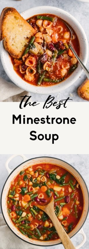 collage of the best minestrone soup