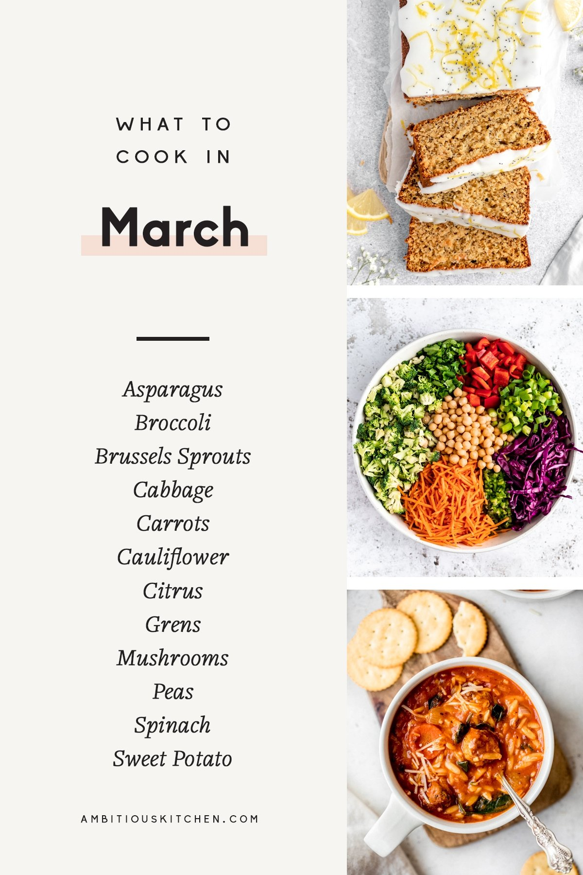 collage of recipes to cook in March