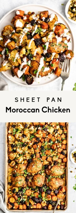 collage of sheet pan moroccan chicken and veggies