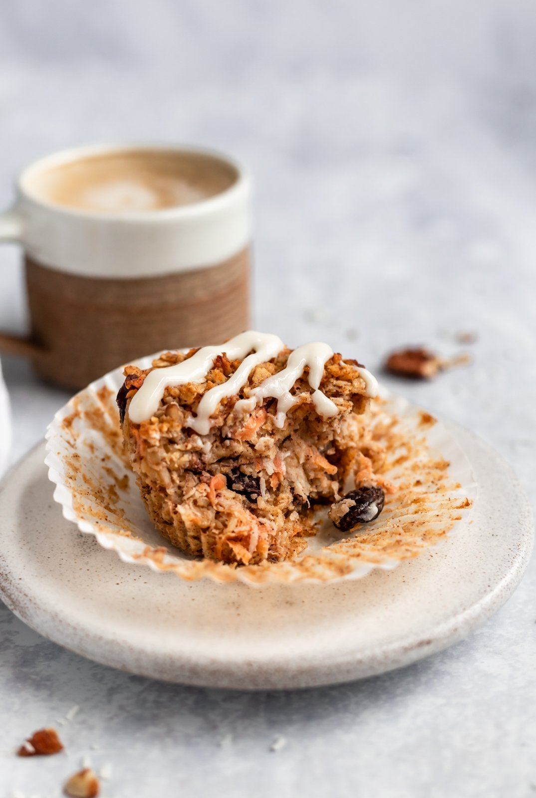 gluten free carrot cake baked oatmeal cup on a plate