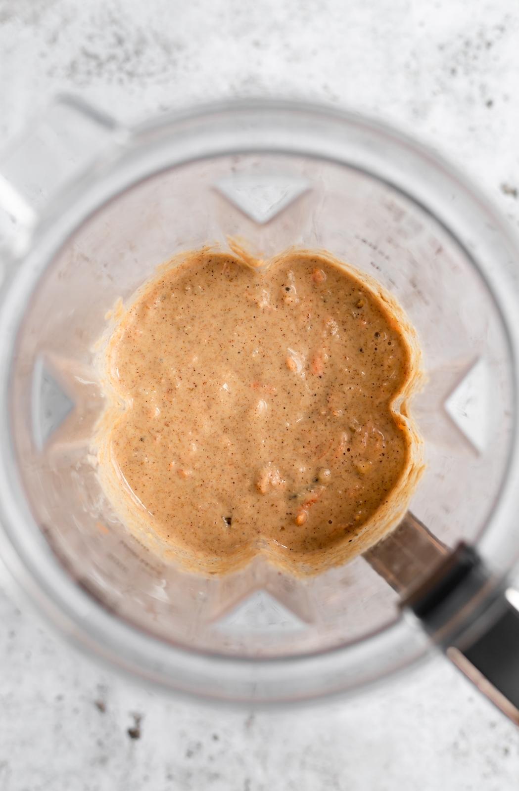 carrot cake pancake batter in a blender