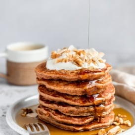 stack of healthy carrot cake pancakes