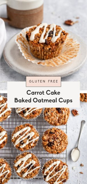 collage of carrot cake baked oatmeal cups