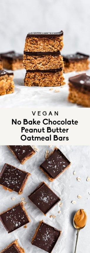 collage of no bake chocolate peanut butter oatmeal bars