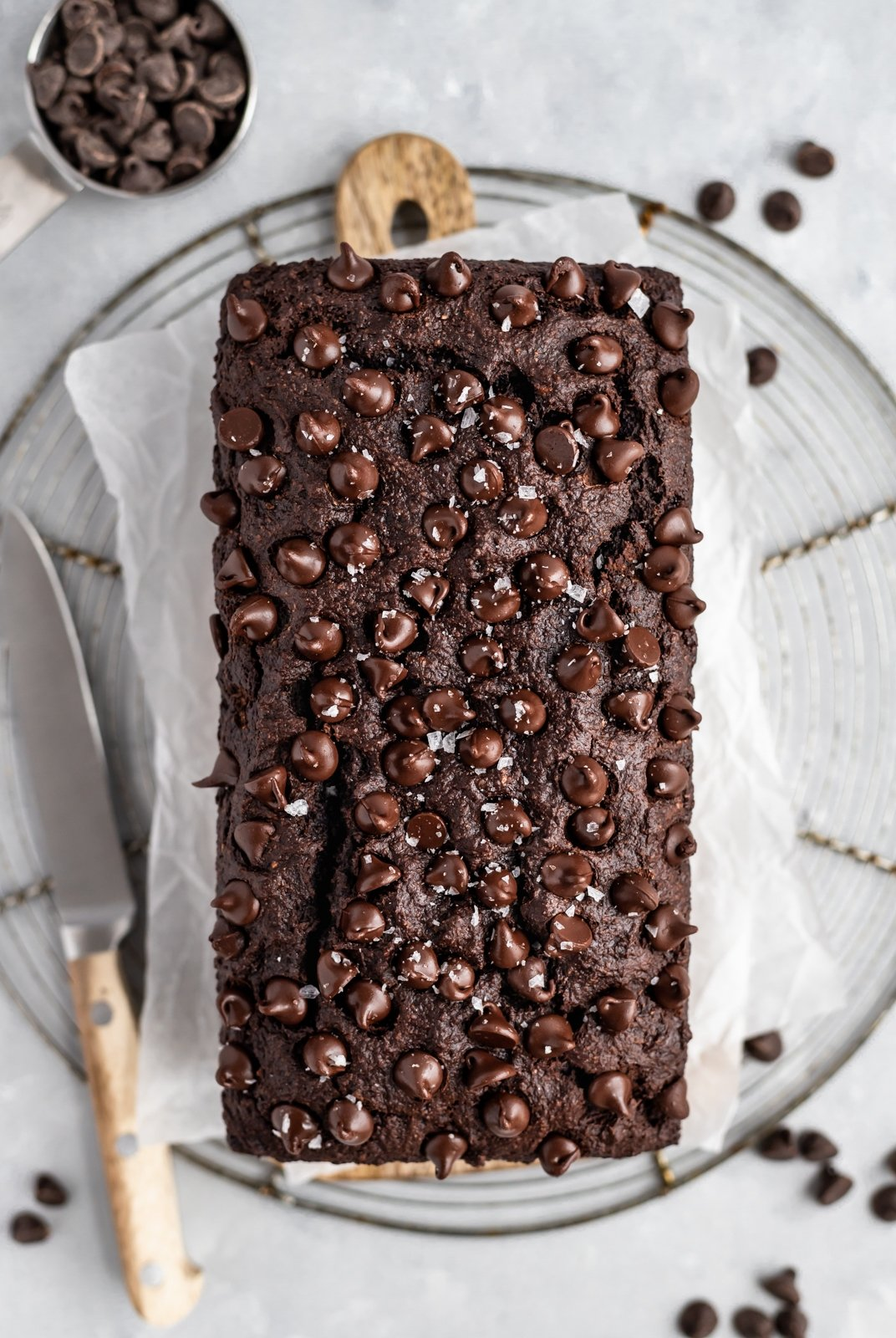 healthy chocolate banana bread on parchment paper