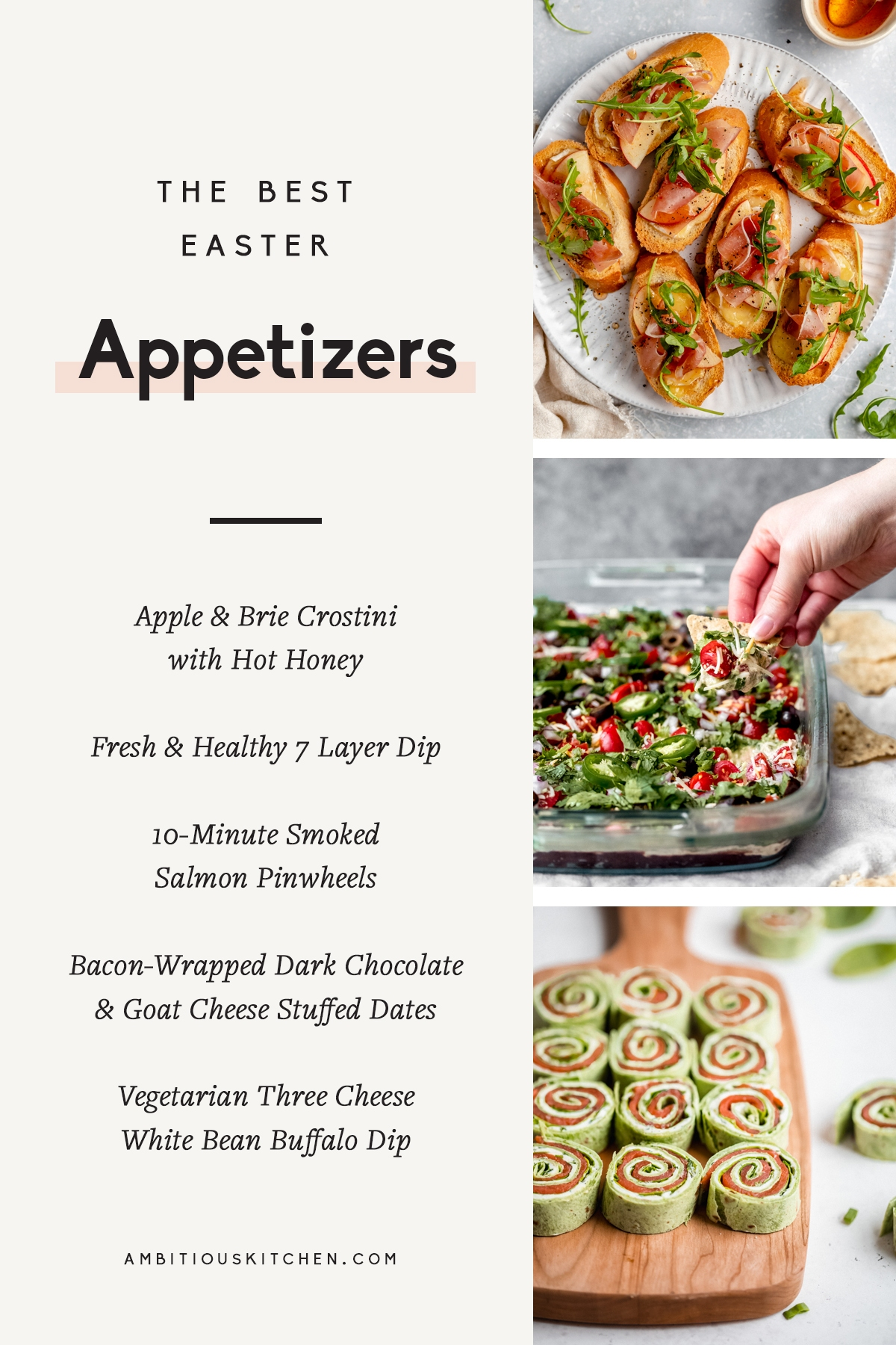 collage of easter appetizers